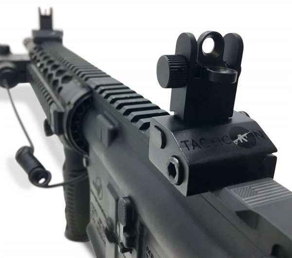 Flip Up Iron Sights Front & Rear Mounted on AR 15 Picatinny Rail