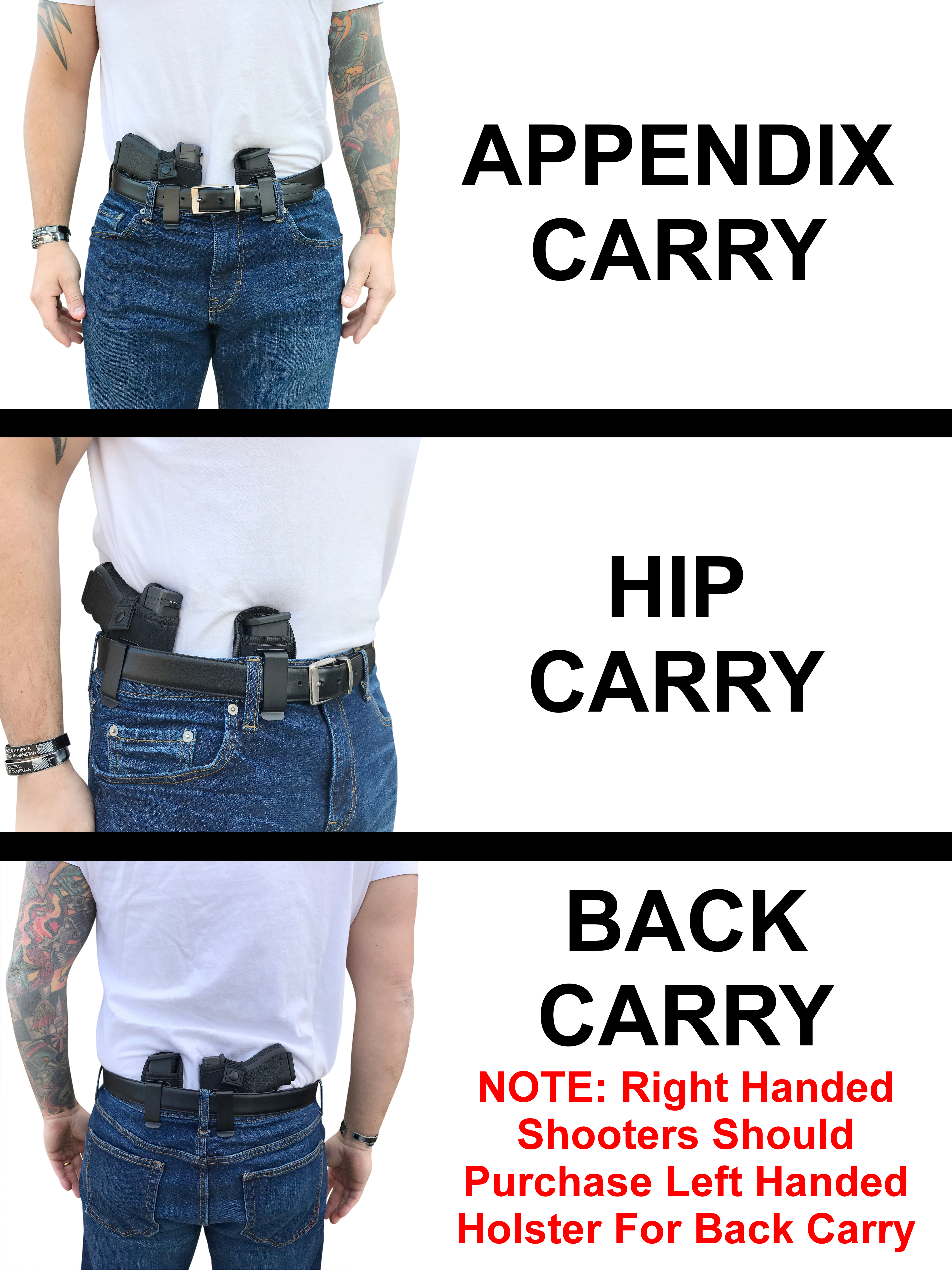 Universal IWB Holster For Concealed Carry | Inside The Waistband | Fits all  firearms S&W M&P Shield 9/40 1911 Taurus PT111 G2 Sig Sauer Glock 19 17 27
