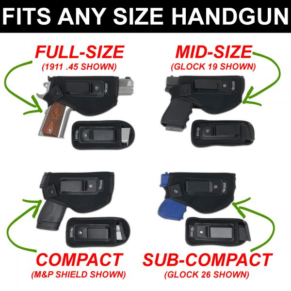 Any size firearms in holster