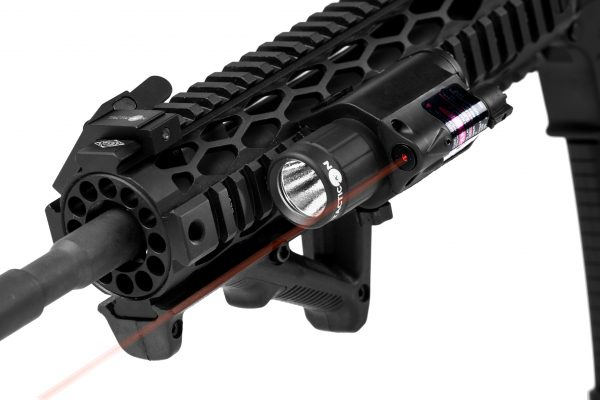 Red Laser Flashlight Attached to Rifle