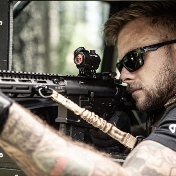 Adult Male with Predator V3 Micro Red Dot Sight Mounted on AR 15
