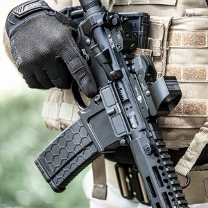 Adult Male with Predator V2 Red Dot Green Dot Sight on AR 15