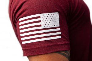 American Flag Sleeve Scarlet Red Shirt Apparel TAC
