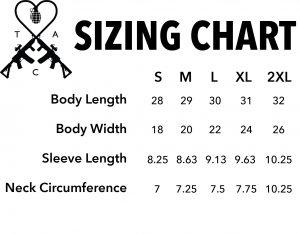 sizing chart TAC Apparel