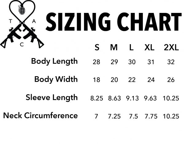 sizing chart TAC Apparel