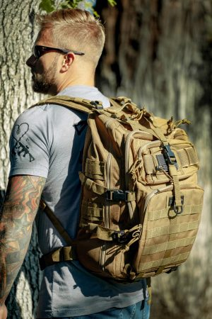 Tan Tactical Backpack Lifestyle