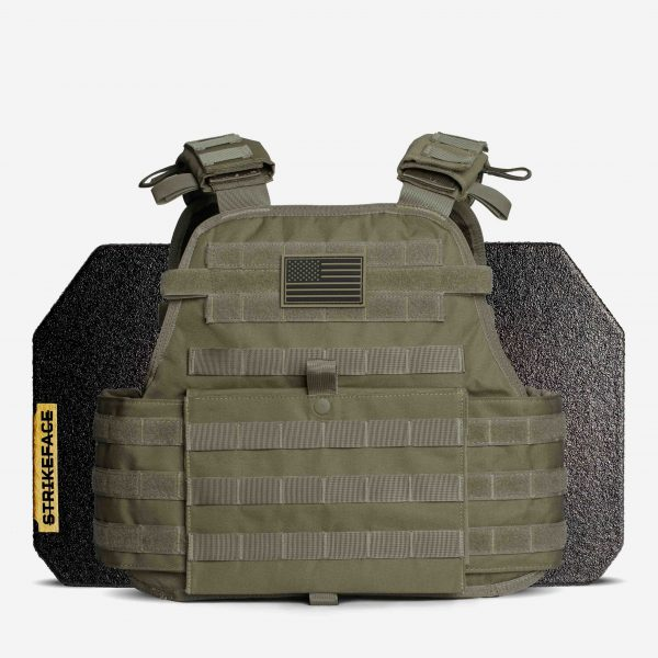 AR500 / AR600 Level 3+ Body Armor with Plate Carrier Package in OD Green