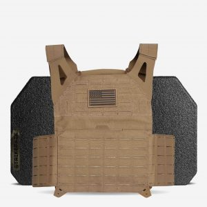 AR500 / AR600 Level 3+ Body Armor with BattleVest Lite Plate Carrier Package In FDE Tan