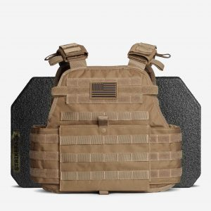 AR500 / AR600 Level 3+ Body Armor with Plate Carrier Package In FDE Tan