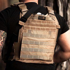 Back of Adult male wearing FDE Tan BattleVest plate carrier vest