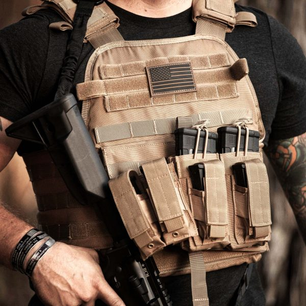 Adult male wearing FDE Tan BattleVest plate carrier vest with K2 and R2 Battle Pouch