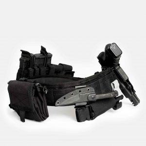 Tactical Belt With Gun Holster And Roll Up Dump Pouch