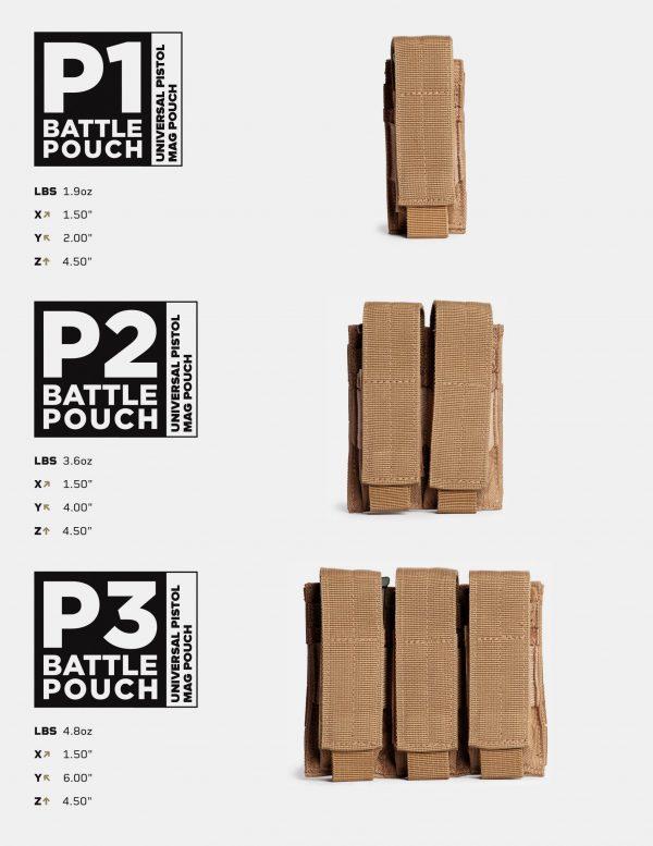 Battle Pouch P1 P2 P3 Universal Pistol Mag Pouch
