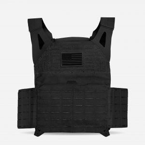Front of Tactical Plate Carrier For Body Armor In Black