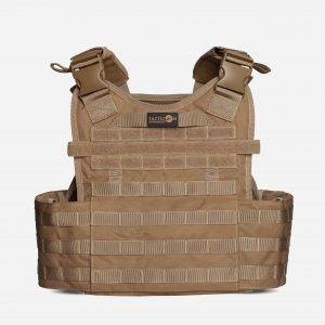 Back of Tactical Plate Carrier For Body Armor In FDE Tan