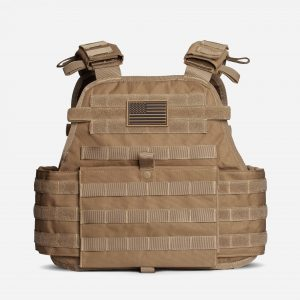 Front of Tactical Plate Carrier For Body Armor In FDE Tan