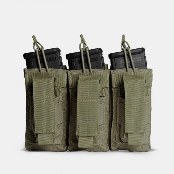 Pistol and Rifle Triple Magazine Pouch In OD Green – K3