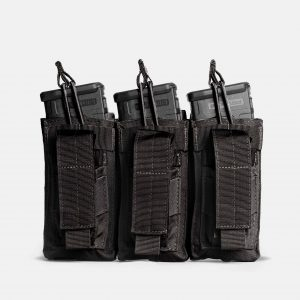 Pistol and Rifle Triple Magazine Pouch In Tactical Black – K3