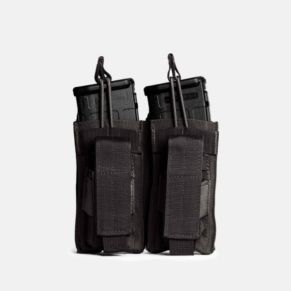 Pistol and Rifle Double Magazine Pouch In Tactical Black – K2