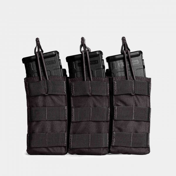MOLLE Triple Rifle Magazine Pouch In Tactical Black – R3