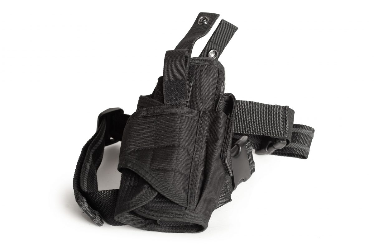 Drop Leg Holster For Handgun And Magazine With Adjustable Retention Straps And Belt Strap